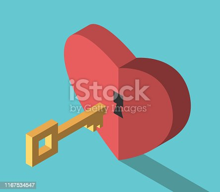 Isometric gold key and red heart with keyhole on turquoise blue background. Love, relationship, understanding and emotion concept. Flat design. EPS 8 vector illustration, no transparency, no gradients