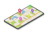 isometric GPS Navigation Concept. Gps Tracking Map. Track Navigation on Street Maps, Navigate Mapping Technology.