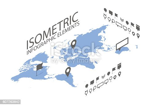 610119450 istock photo Isometric GPS navigation concept, World map application and marker pin 607263842