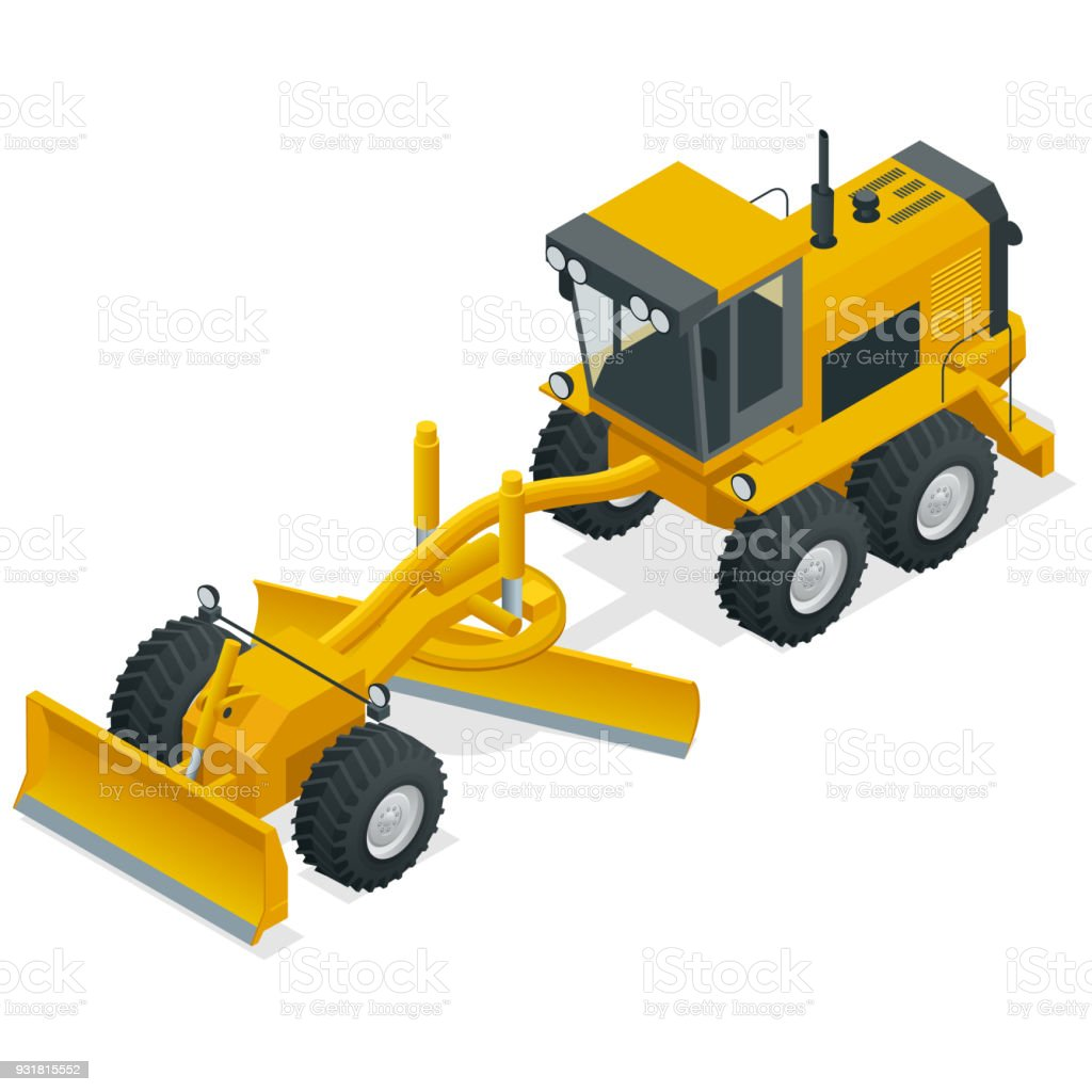 Isometric Graders Used In The Construction And Maintenance Of Dirt Roads Gravel