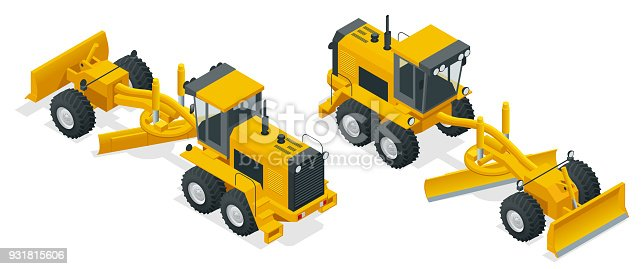 Isometric Graders used in the construction and maintenance of dirt roads and gravel roads. Construction machinery equipment positioned on a white background. Vector