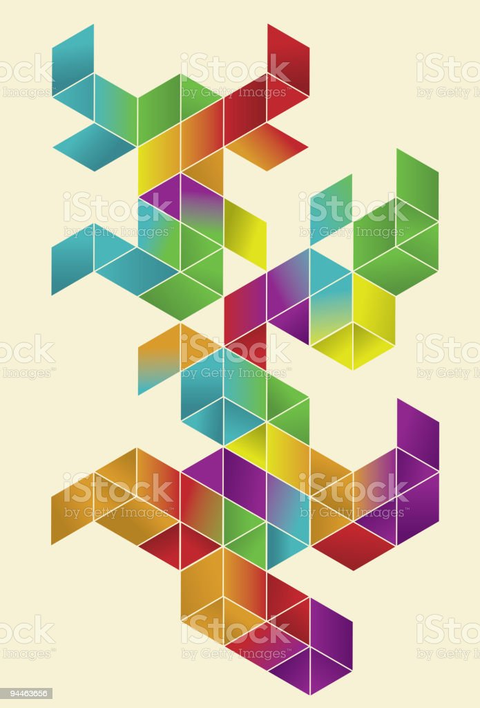 Isometric Gradient Cube Page Design royalty-free stock vector art