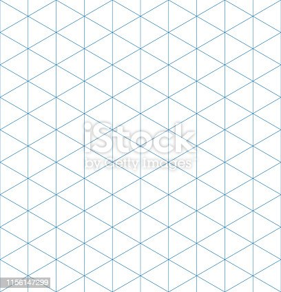 Isometric graph paper background. Seamless pattern. Vector illustration