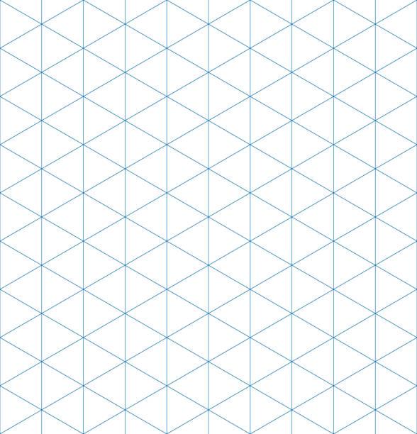 stockillustraties, clipart, cartoons en iconen met isometrische grafiek papier achtergrond. naadloos patroon. vector illustratie - driehoek