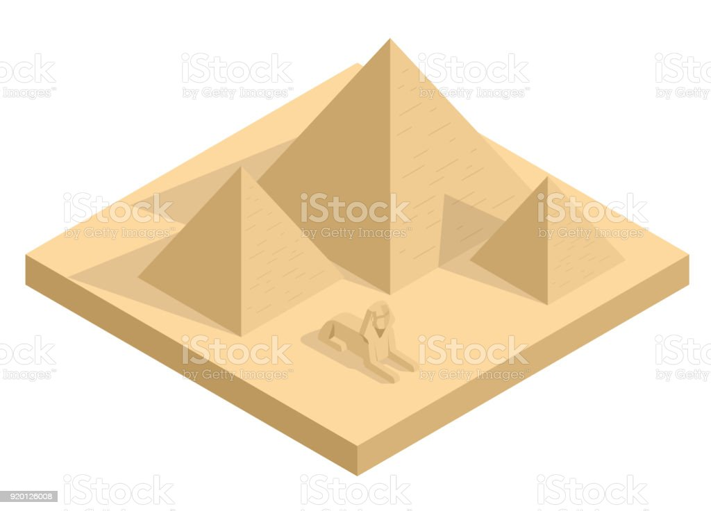 Isometric Great Sphinx including pyramids of Menkaure and Khafre in white background. Giza, Cairo, Egypt. Egyptian pyramids tourism vector concept. vector art illustration