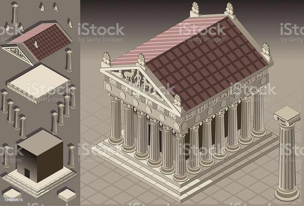 isometric Greek Temple (Ionic Architecture) royalty-free stock vector art