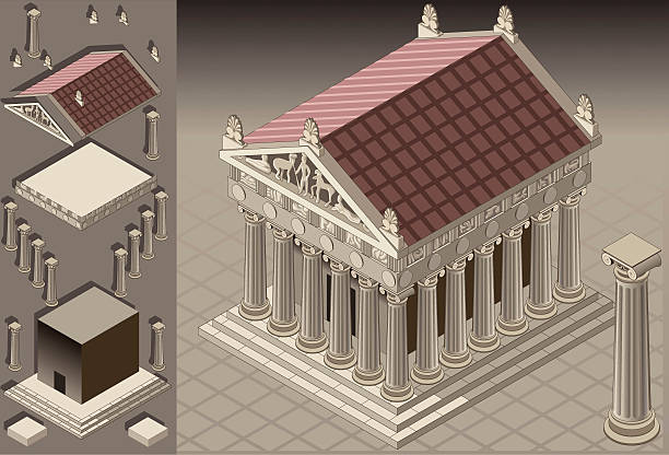 isometric Greek Temple (Ionic Architecture) vector art illustration