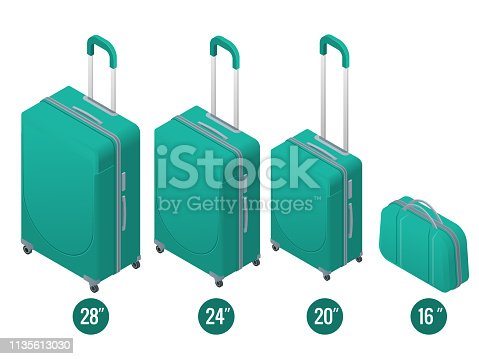Isometric green business and family vacation travel luggage bag, handbag baggage modern. Set of suitcases and backpacks isolated on white