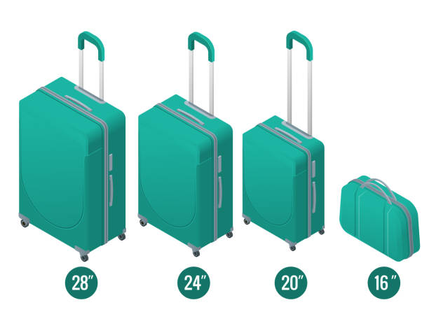Isometric green business and family vacation travel luggage bag, handbag baggage modern. Set of suitcases and backpacks isolated on white. Isometric green business and family vacation travel luggage bag, handbag baggage modern. Set of suitcases and backpacks isolated on white handle stock illustrations