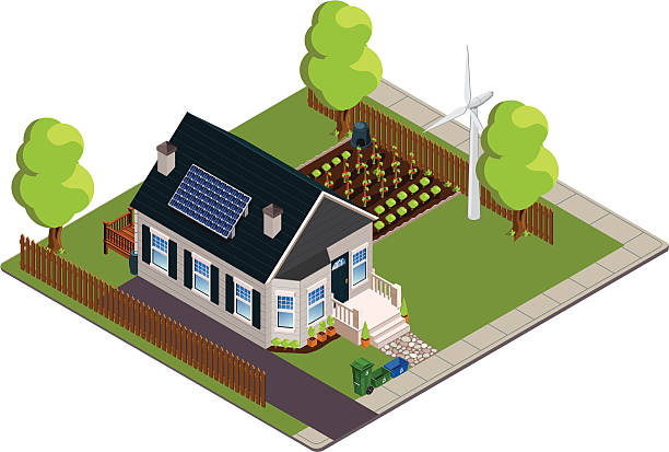 stockillustraties, clipart, cartoons en iconen met isometric green or eco-friendly bungalow - garden house
