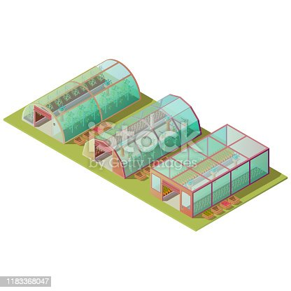 Isometric greenhouses set, farm hothouse buildings of different shapes for growing plants with glass windows and automatic lifting door isolated on white background. 3d vector illustration, clip art