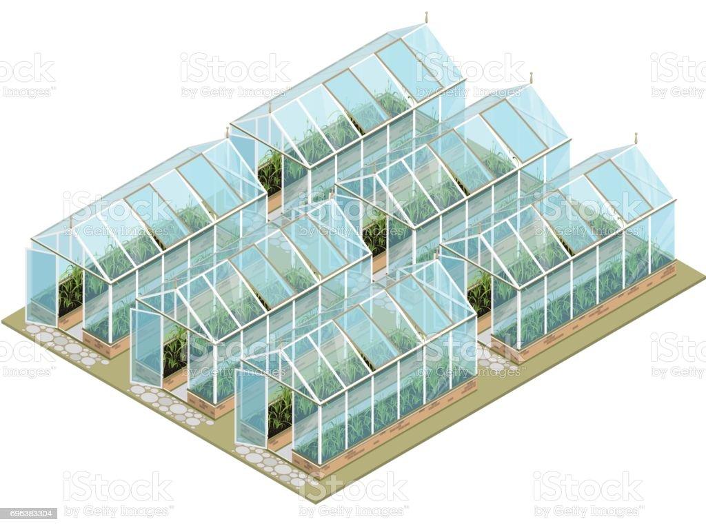 Isometrische broeikasgassen boerderij met glazen wanden en stichtingen. - Royalty-free Achtergrond - Thema vectorkunst