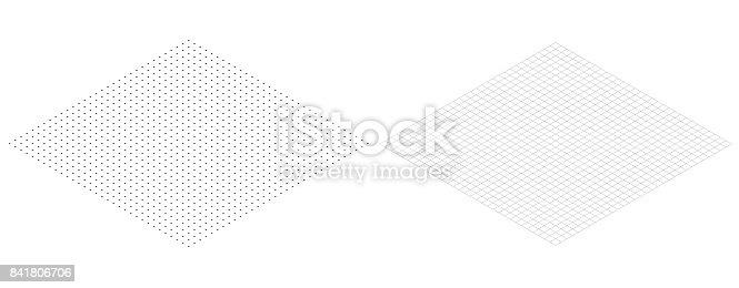 isometric grid line paper Isometric grid dots vector