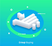 Group buying isometric design concept with modern style gradients. Vector design elements useful for web banner or poster.