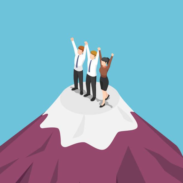 ilustrações de stock, clip art, desenhos animados e ícones de isometric group of businessman holding hand and celebrating on mountain - alter do chão