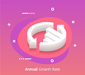 Growth rate isometric design concept with modern style gradients. Vector design elements useful for web banner or poster.
