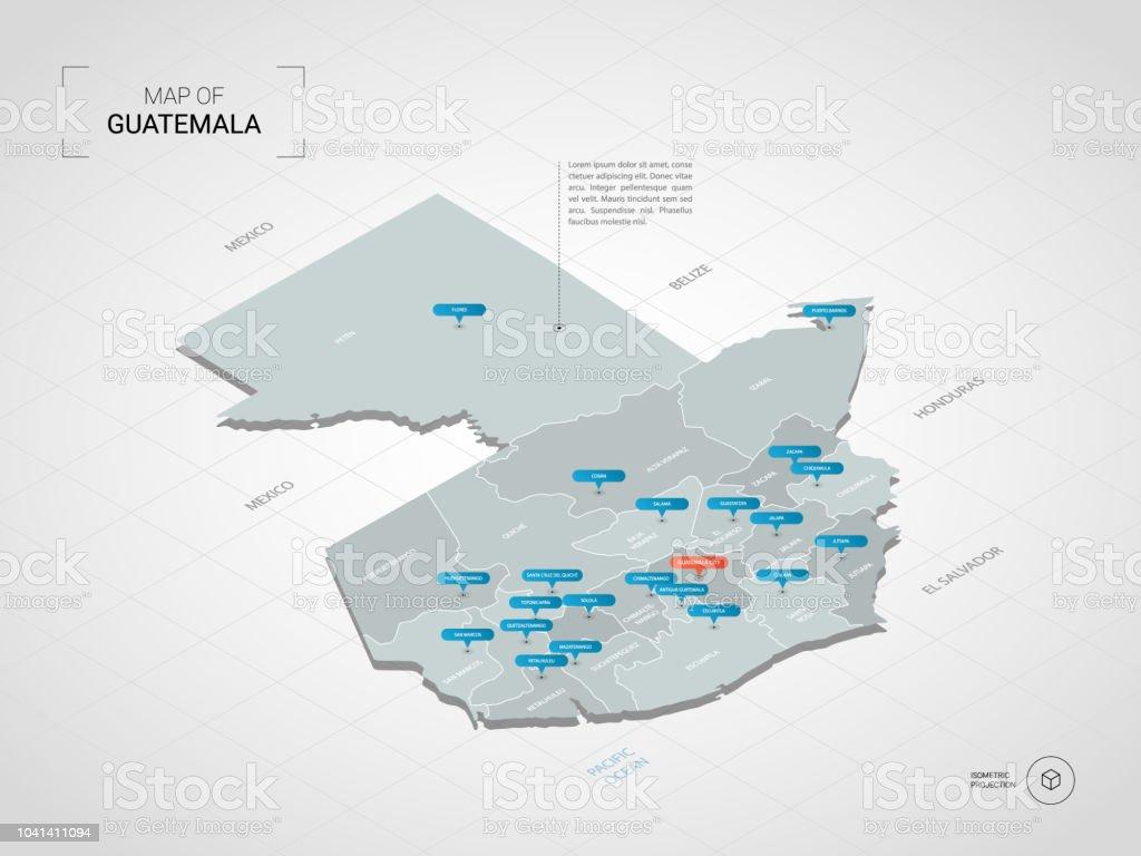 Guatemala Karte.Isometrische Guatemala Karte Mit Städtenamen Und Verwaltungsstruktur