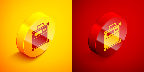 Isometric Guitar amplifier icon isolated on orange and red background. Musical instrument. Circle button. Vector