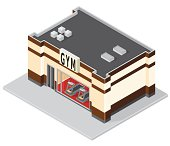 A vector illustration of an  Isometric GYM Building.