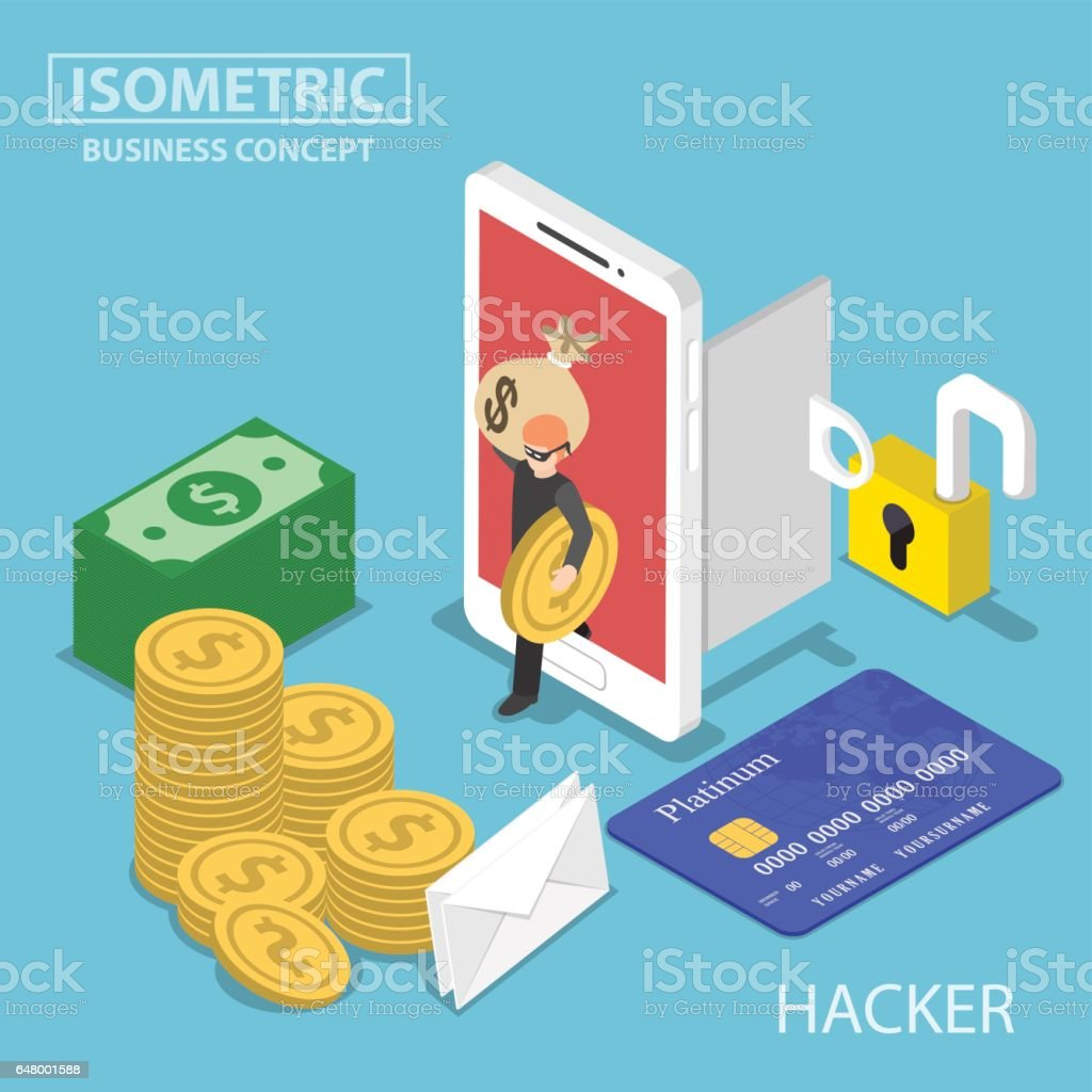 Isometric hacker steal money and data from smartphone vector art illustration