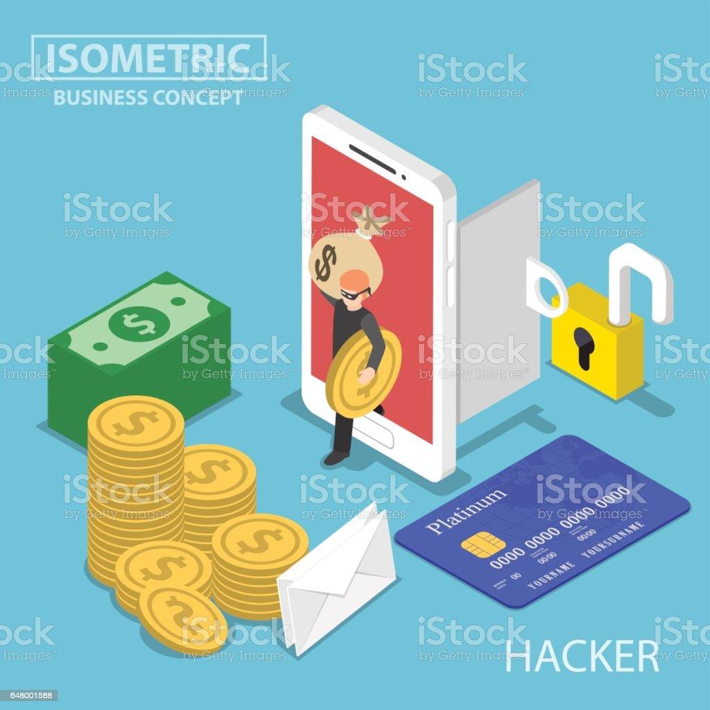 Isométrica hacker robar dinero y datos desde smartphone - ilustración de arte vectorial