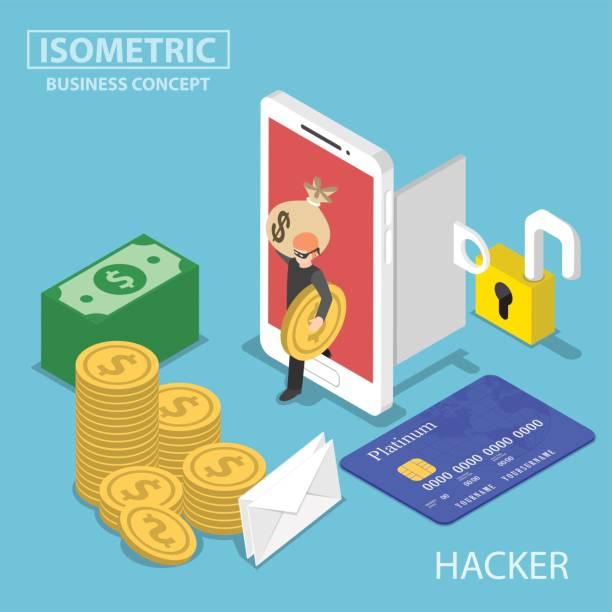 ilustraciones, imágenes clip art, dibujos animados e iconos de stock de isométrica hacker robar dinero y datos desde smartphone - robo de identidad