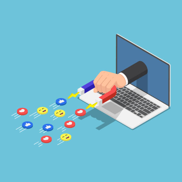 Isometric Hand holding a magnet appeared from laptop monitor and attracting social media icons Flat 3d isometric Hand holding a magnet appeared from laptop monitor and attracting social media icons. Digital marketing and social media concept. addict stock illustrations