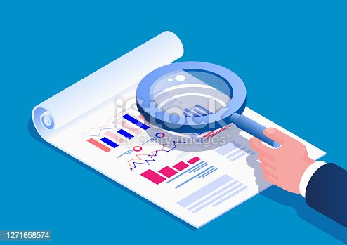istock Isometric hand holding a magnifying glass to view data report 1271658574