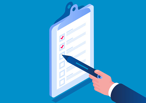 Isometric hand holding pencil checking checklist list on clipboard