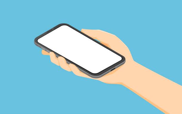 illustrations, cliparts, dessins animés et icônes de smartphone de fixation de main isométrique - main téléphone