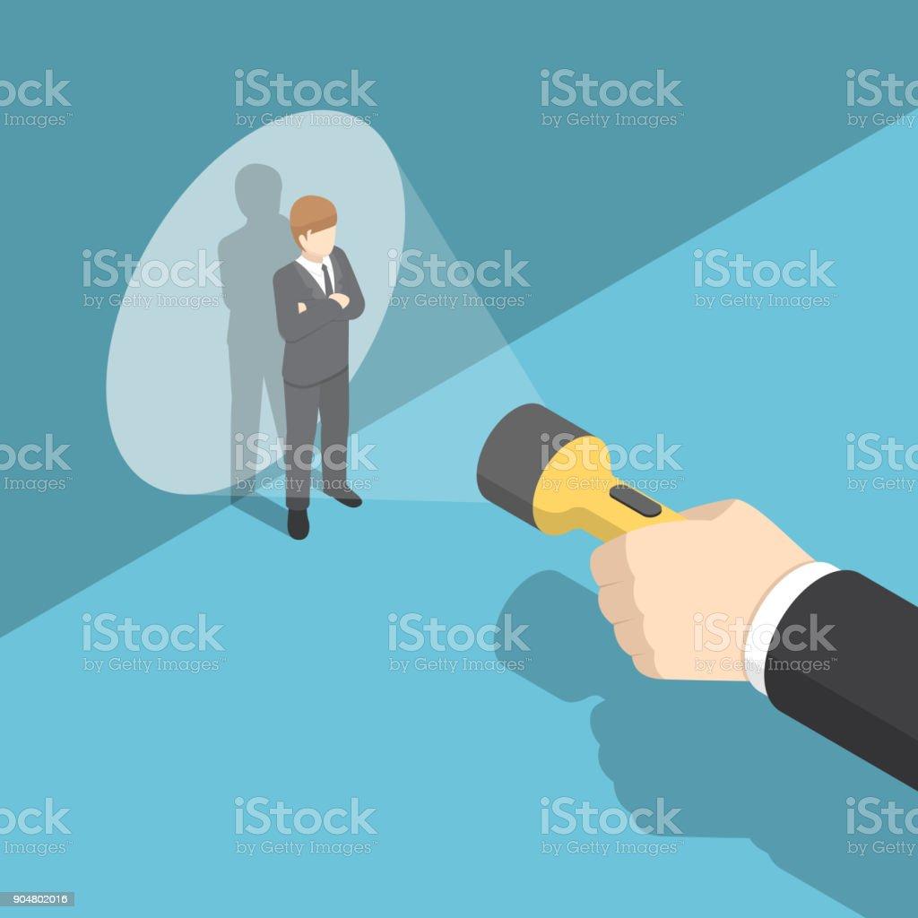 Isometric hand pointing flashlight at businessman. vector art illustration