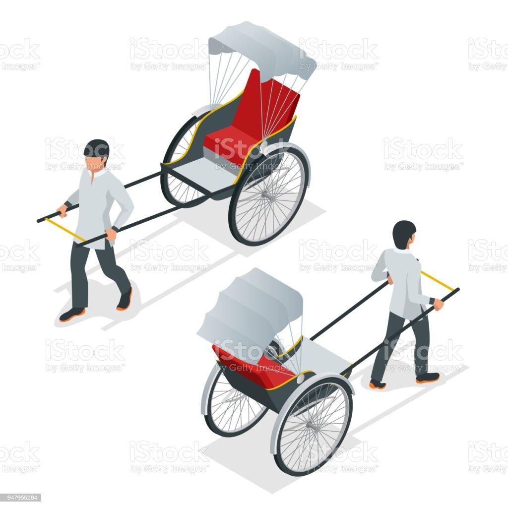 等尺性の手を引っ張った人力車人力車中国やインドのベクトルフロントと