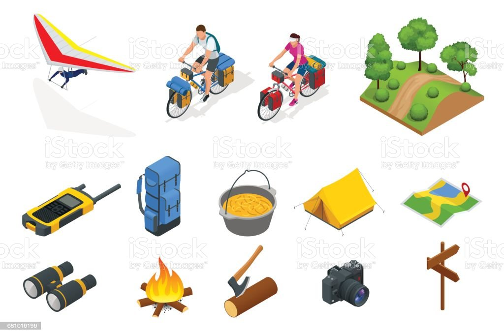 Isometric hang glider, bikers on bicycle with travelling bag for travel, Camping equipment isolated on white Vector collection. Base camp gear and accessories. vector art illustration