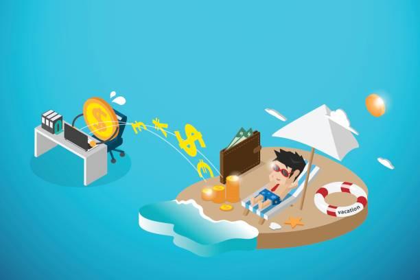 ilustrações de stock, clip art, desenhos animados e ícones de isometric happy businessman and money working, passive income and business concept - enjoying wealthy life