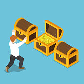 Flat 3d isometric happy businessman with opened treasure chest. Wealth and business success concept.