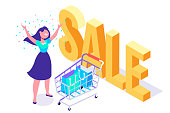 Mall shopping, on-line shopping. Big sale. Flat vector illustration.