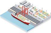 Isometric, work on the port, make in adobe Illustrator (vector)