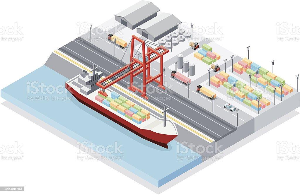 Isometric, Harbor vector art illustration