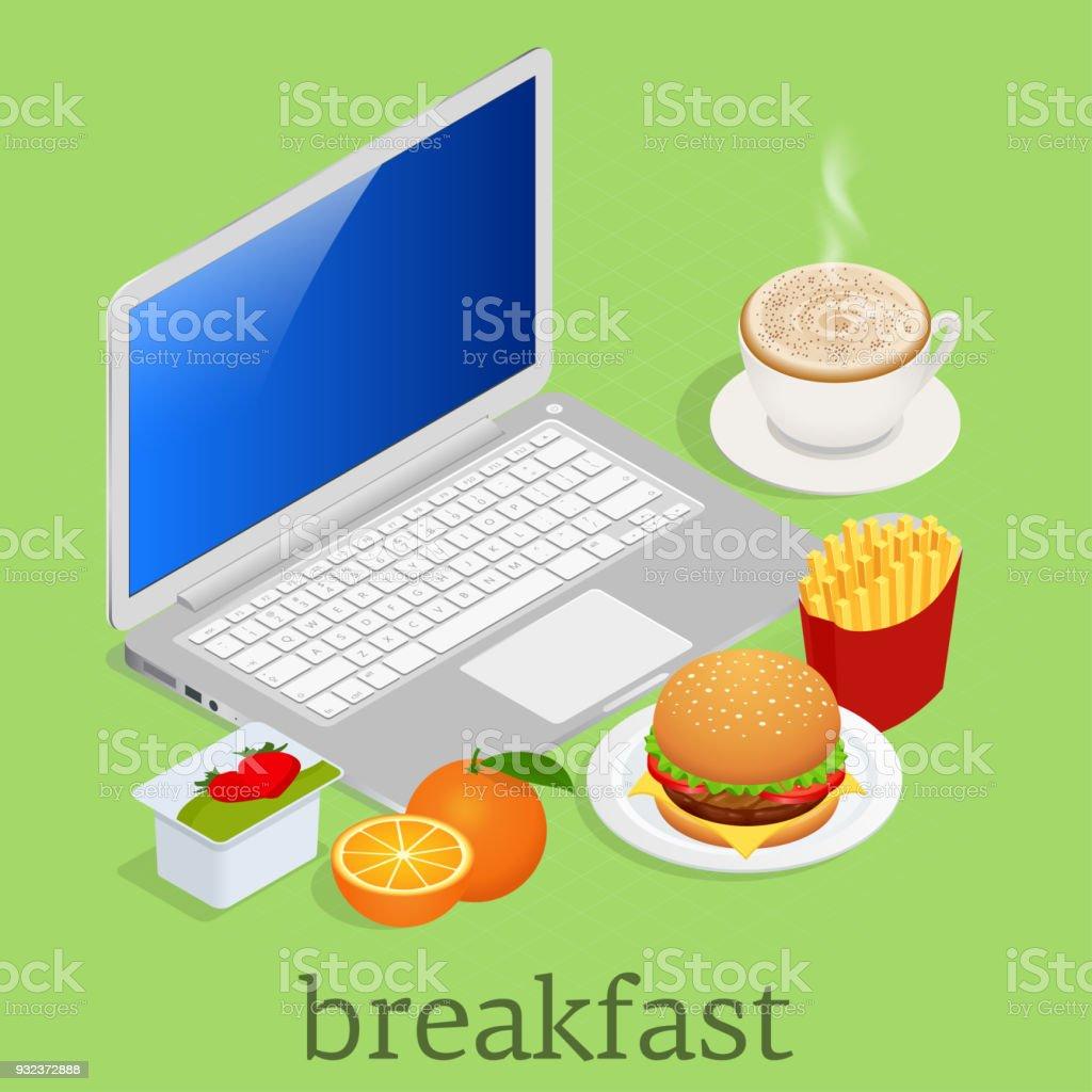 Isométrique Un Petit Déjeuner En Face De Lordinateur Sur Lespace De ... 3916b0251f0a