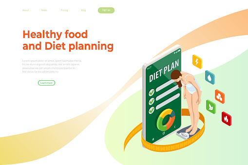 Isometric Healthy food and Diet planning concept. Healthy eating, personal diet or nutrition plan from dieting expert. Nutrition consulting, diet plan