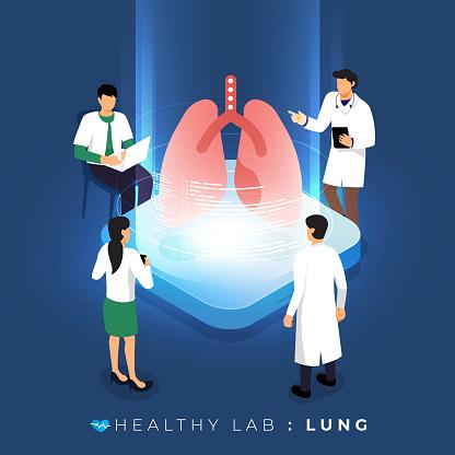 Isometric Healthy Labs Concept - Arte vetorial de stock e mais imagens de Adulto