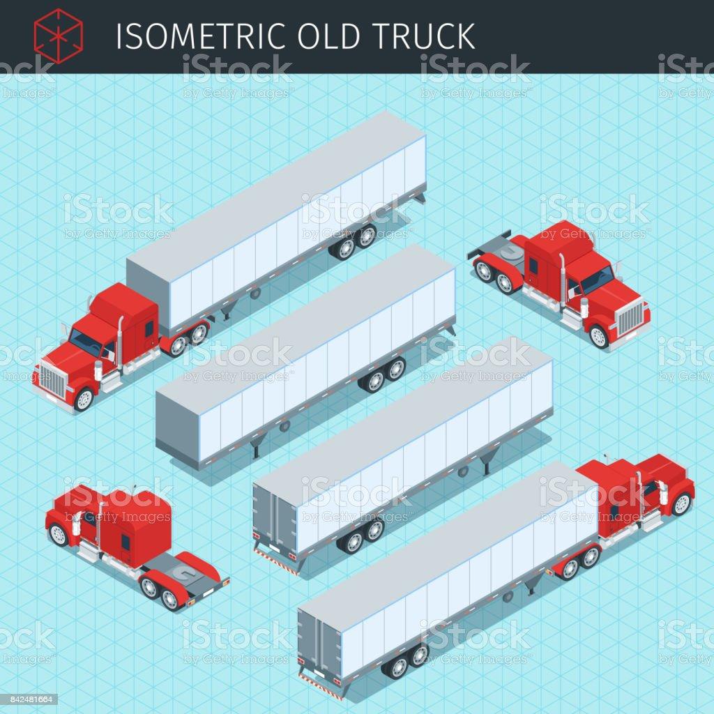 Isometric heavy american cargo truck
