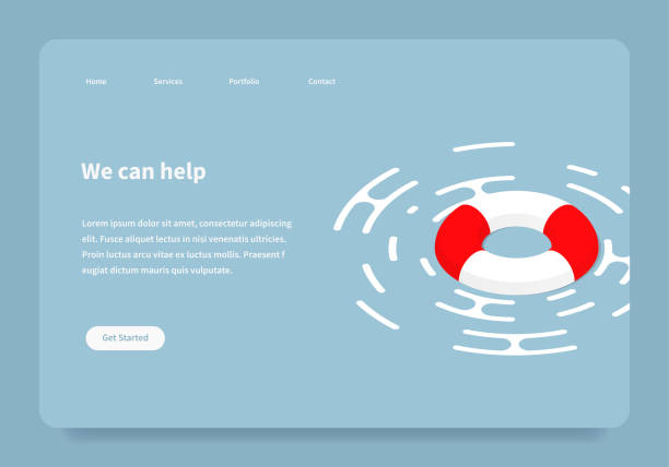 Isometric Help Landing Page Vector isometric illustration of a lifebuoy floating on a surface. Red and white lifebuoy emergency assistance to a customer landing page concept. lifeguard stock illustrations