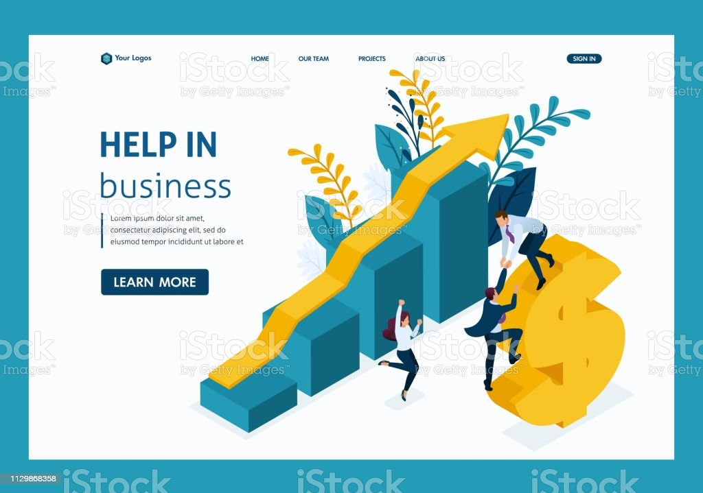 Isometric Helping Hand. Large business helps small business...