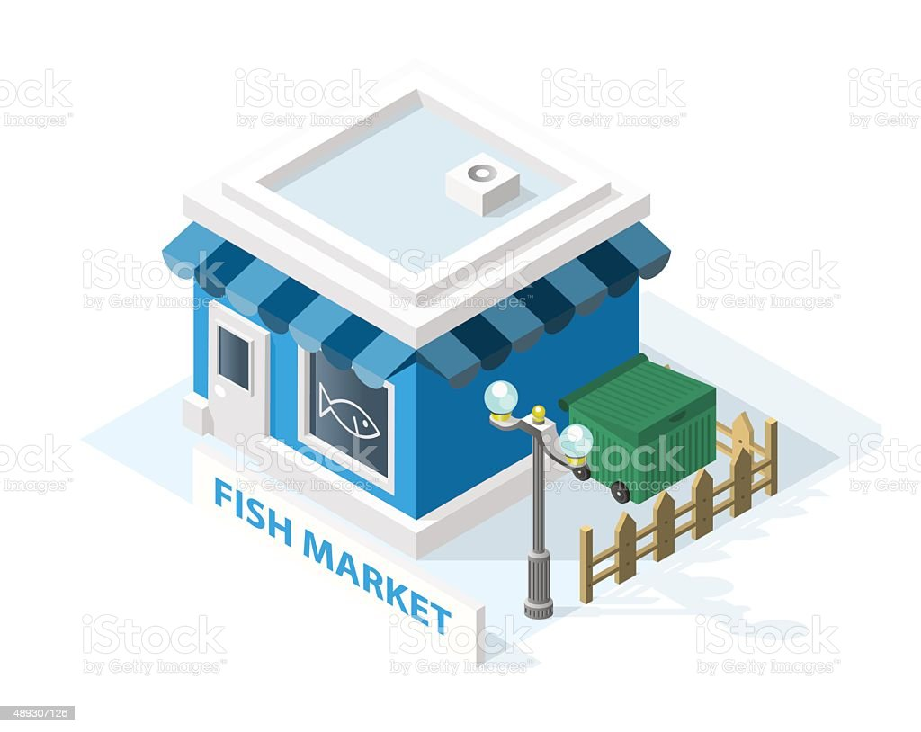 Isometric High Quality City Element . Fish Market vector art illustration