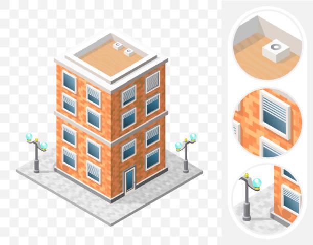 isometrische high quality city element auf transparenten hintergrund. wohn- - ziegelwände stock-grafiken, -clipart, -cartoons und -symbole