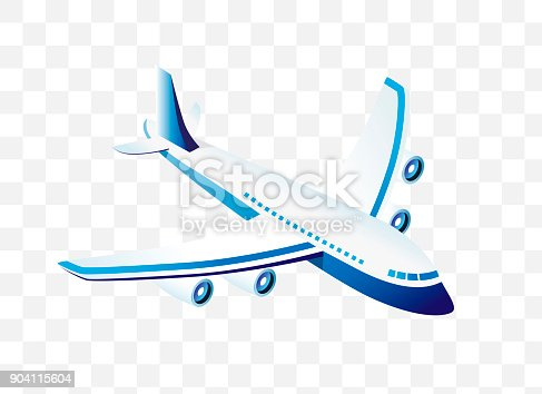 istock Isometric High Quality City Element with 45 Degrees Shadows on Transparent Background . Airplane 904115604