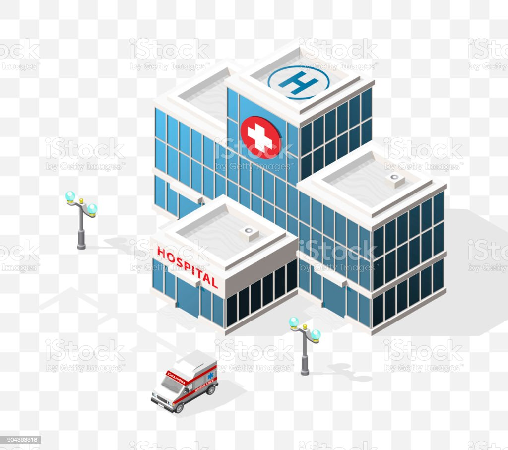 Isometric High Quality City Element with 45 Degrees Shadows on Transparent Background . Hospital vector art illustration