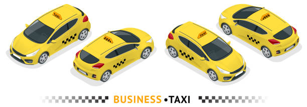 Isometric high quality city service transport icon set. Car taxi. Isometric high quality city service transport icon set. Car taxi. Build your own world web infographic collection. Set of the isometric taxi cab with front and rear views hatchback stock illustrations
