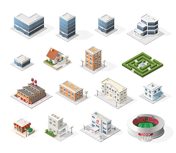 isometric high quality city street urban buildings on white background. - architecture silhouettes stock illustrations